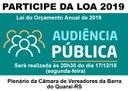 Audiência Pública - Lei do Orçamento Anual de 2019